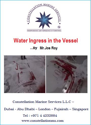 Water Ingress in the Vessel by Mr.Jos Roy